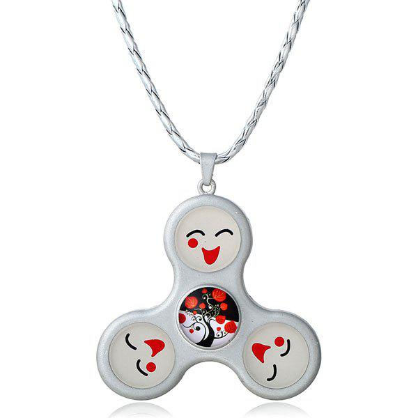 Smile Decoration Fidget Spinner Pendant Necklace - SILVER