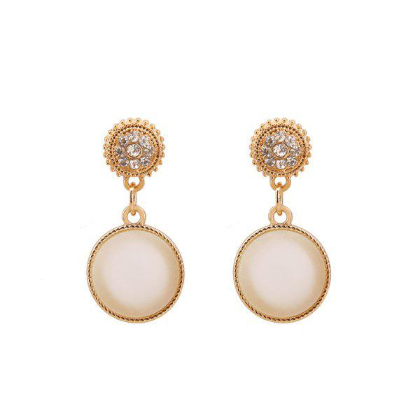 Faux Opal Rhinestone Round Earrings - GOLDEN