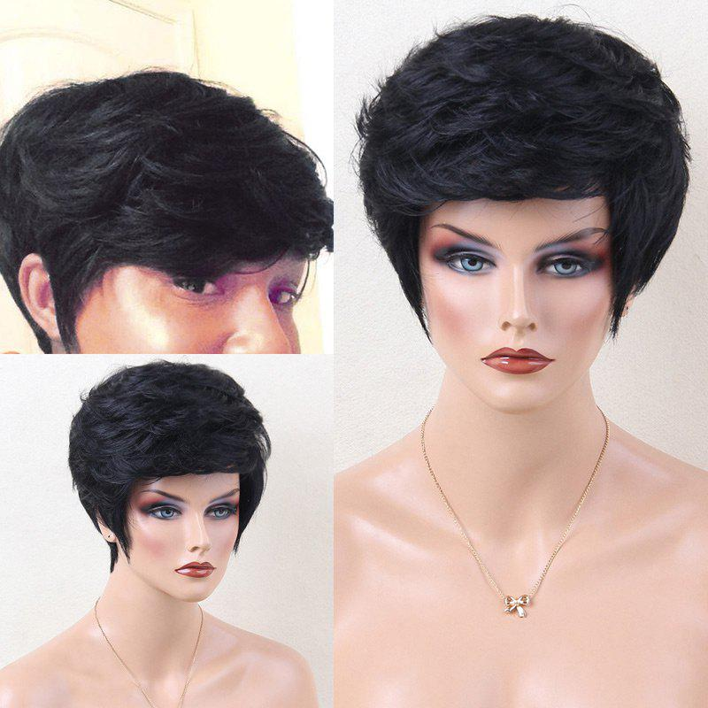 Short Incliné Bang Shaggy Layered Lightly Curled Hair Hair Wig - JET NOIR