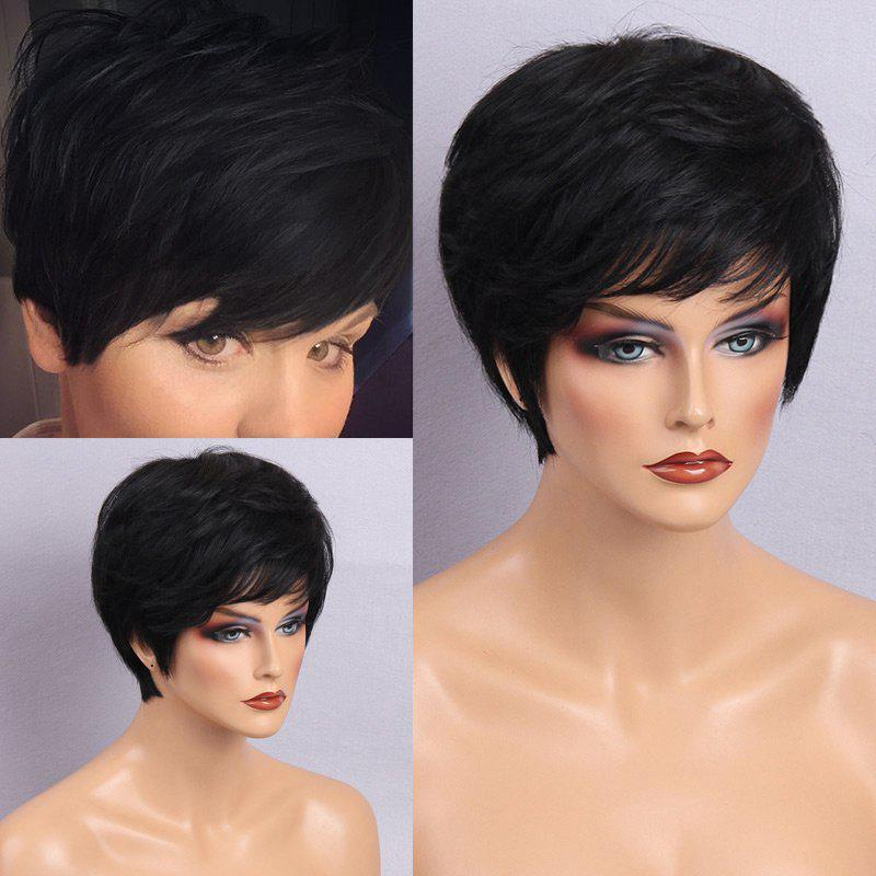 Short Side Bang Layered Shaggy Straight Hair Hair Wig - JET NOIR