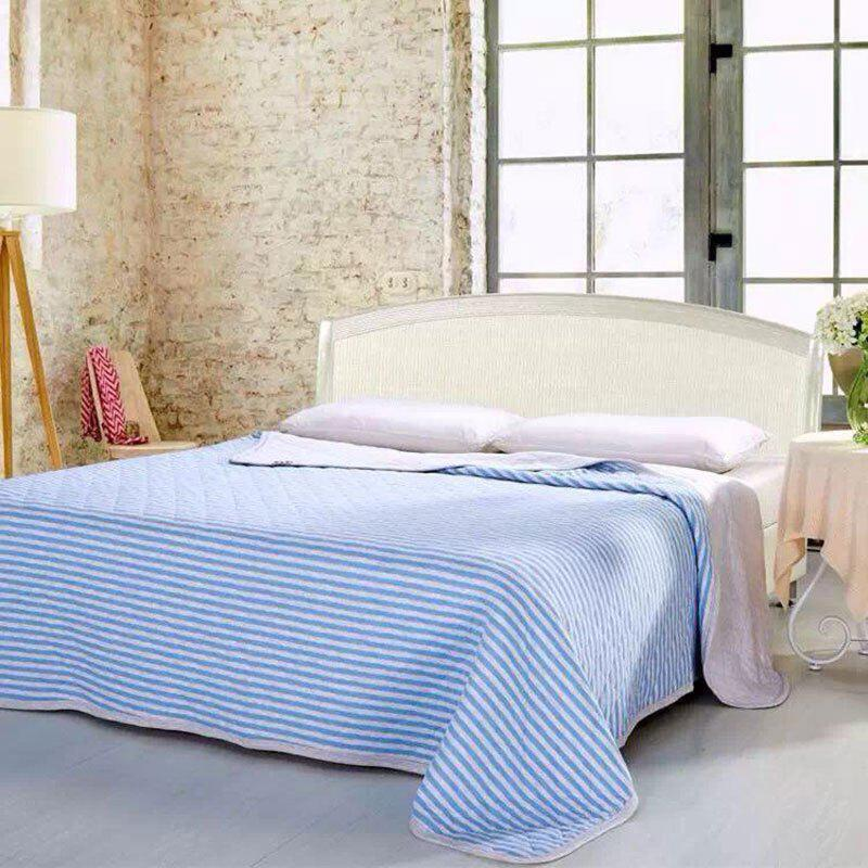 100 Percent Striped Long Stapled Cotton Bed Blanket - LIGHT BLUE FULL