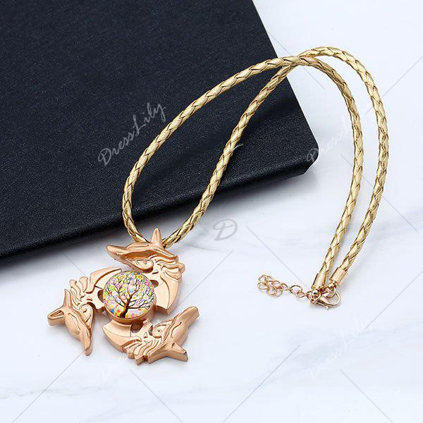 Dolphin Tree of Life Fidget Spinner Decoration Necklace - GOLDEN