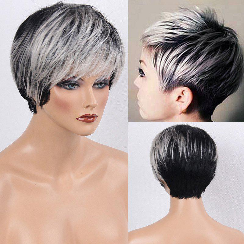Colormix Side Bang Layered Silky Short Straight Human Hair Wig - WHITE/BLACK