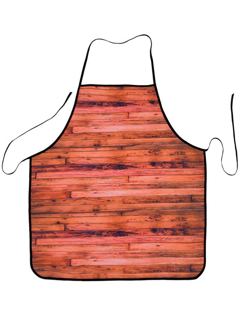 Waterproof Woodgrain Fabric Cooking Apron - DARK AUBURN 80*70CM