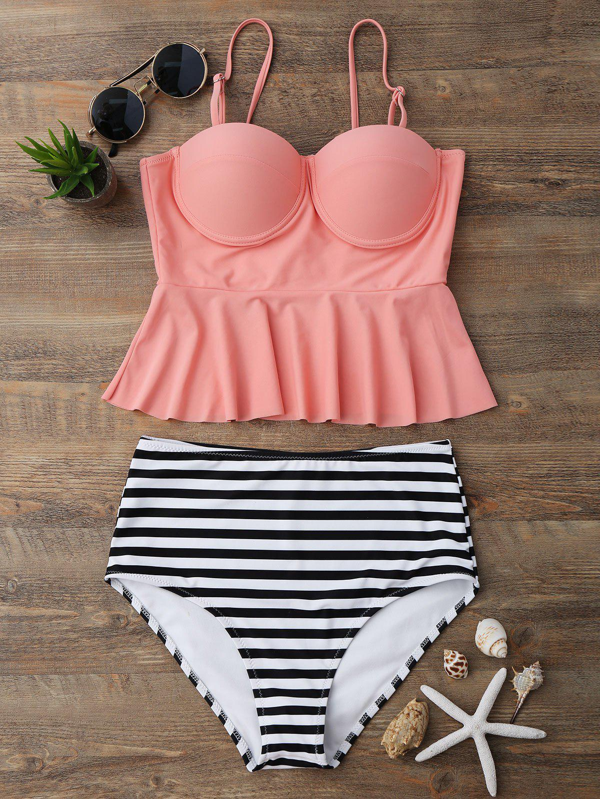 High Waisted Striped Peplum Tankini Set - ORANGEPINK XL