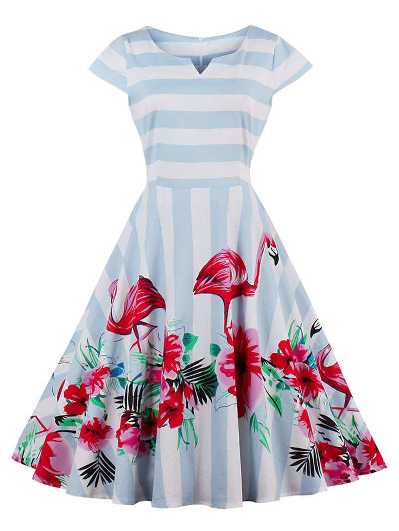 Floral Flamingo Print Striped Vintage Dress - LIGHT BLUE M
