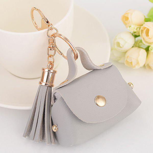 Artificial Leather Coin Purse Tassel Key Chain - SILVER