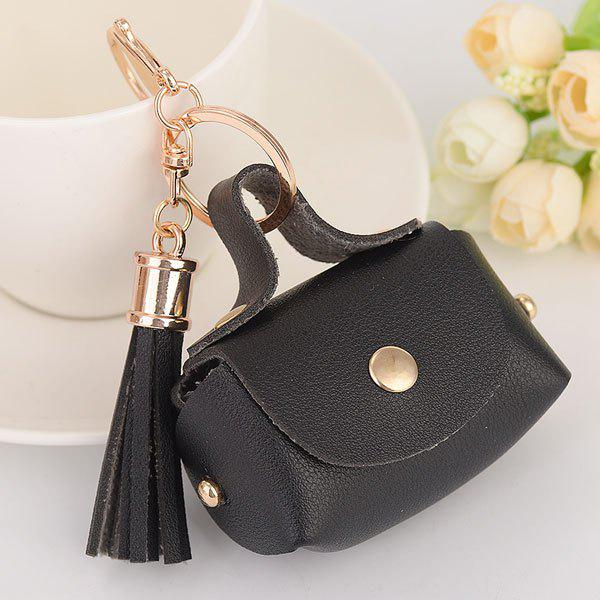 Artificial Leather Coin Purse Tassel Key Chain - BLACK
