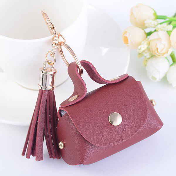 Artificial Leather Coin Purse Tassel Key Chain - BURGUNDY