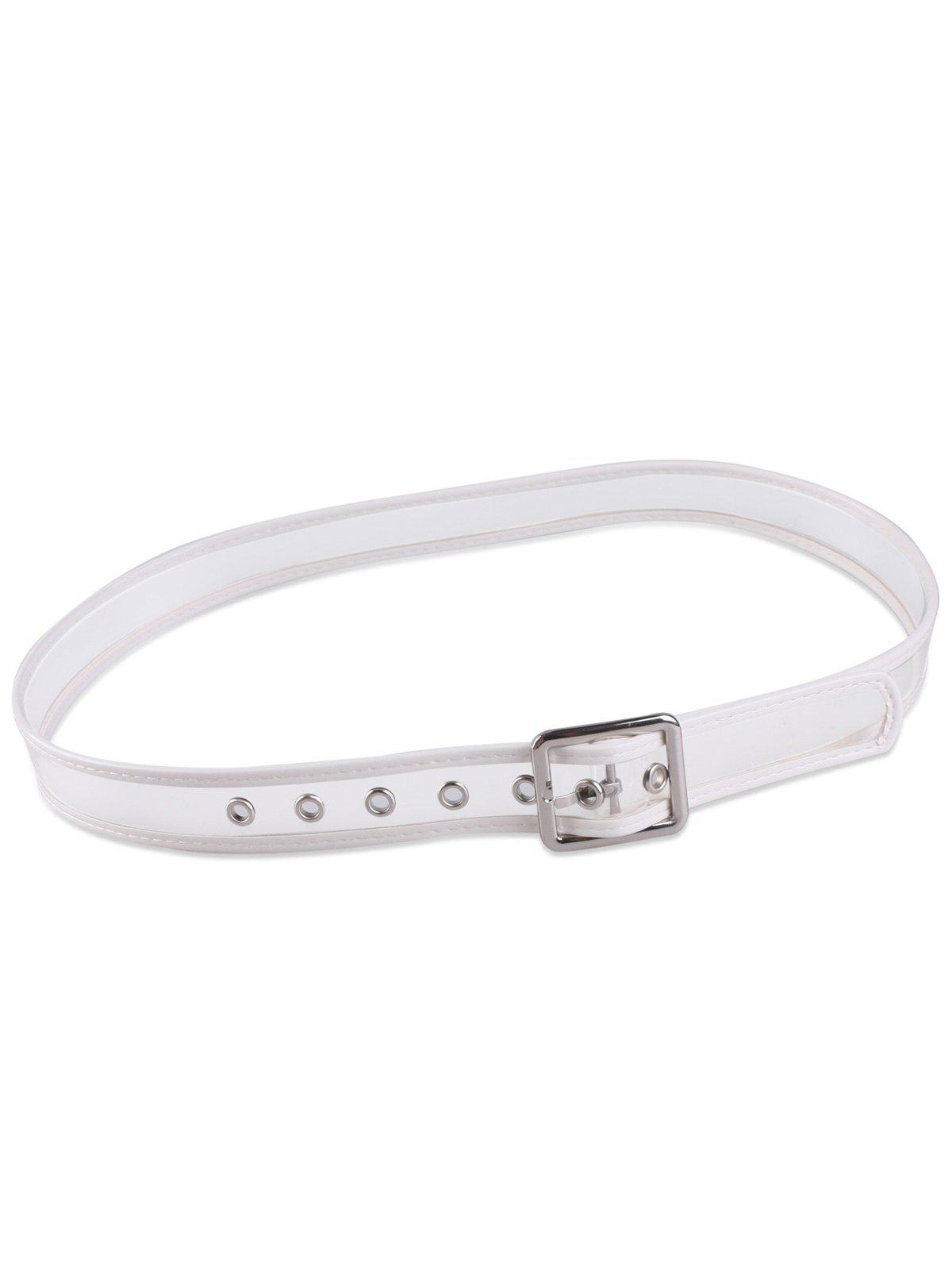 Candy Color Brim Transparent Pin Buckle Belt - Blanc