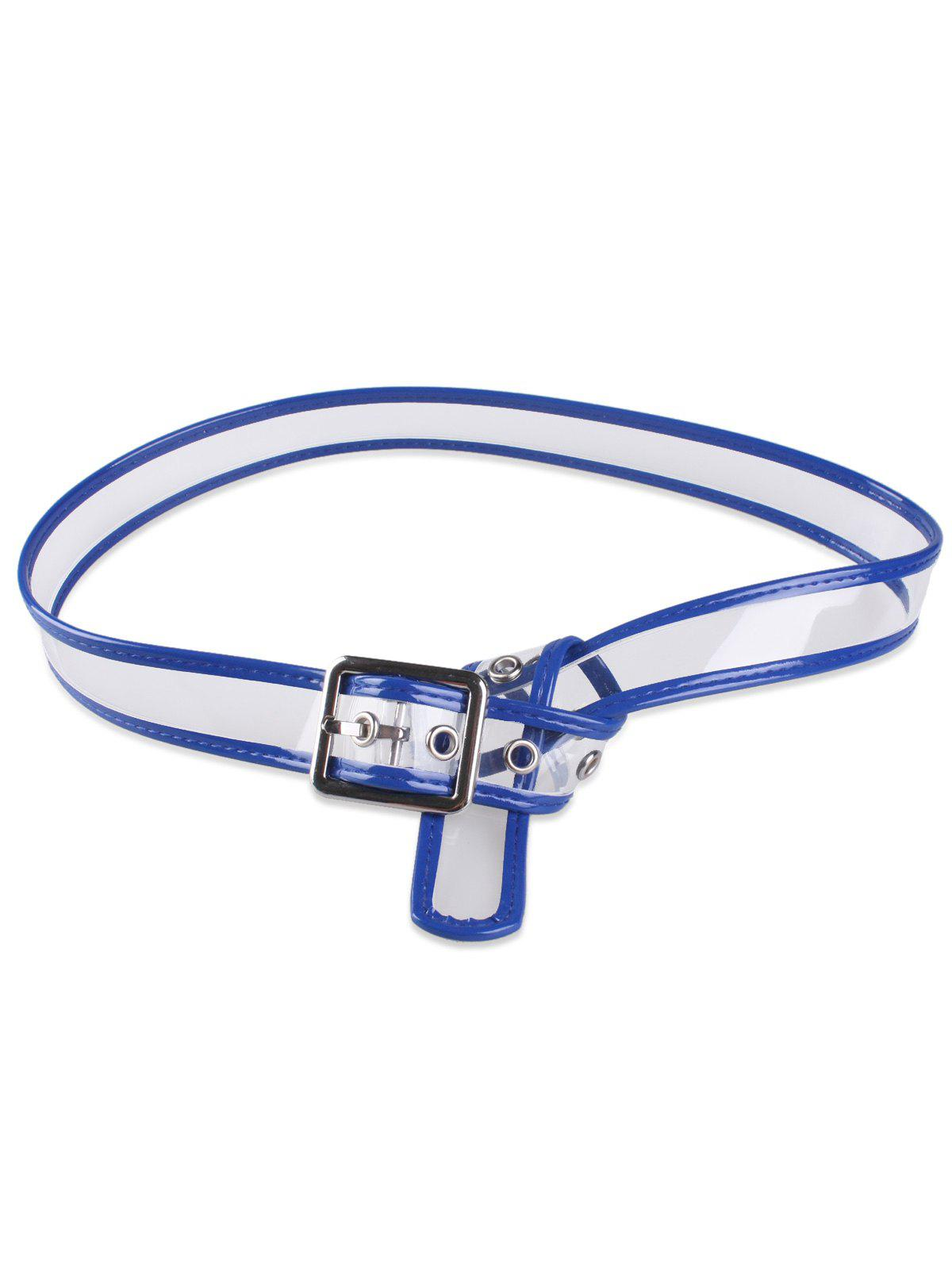 Candy Color Brim Transparent Pin Buckle Belt - Bleu