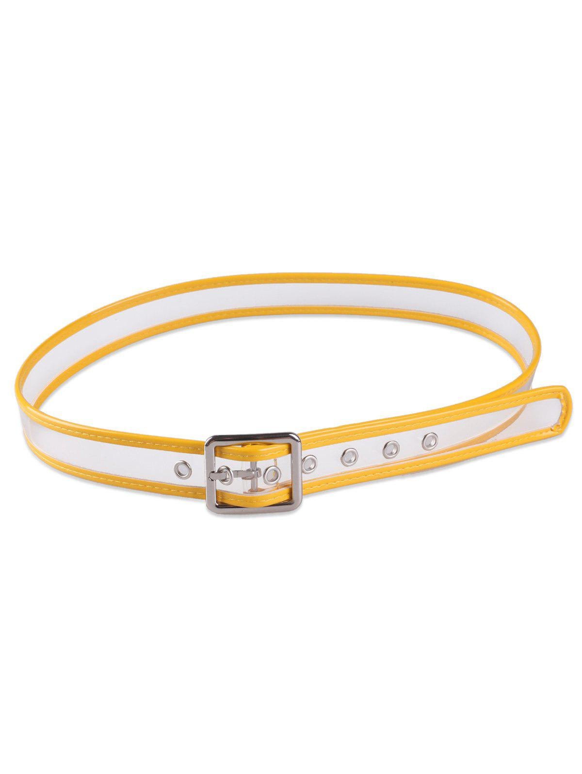 Candy Color Brim Transparent Pin Buckle Belt - Jaune