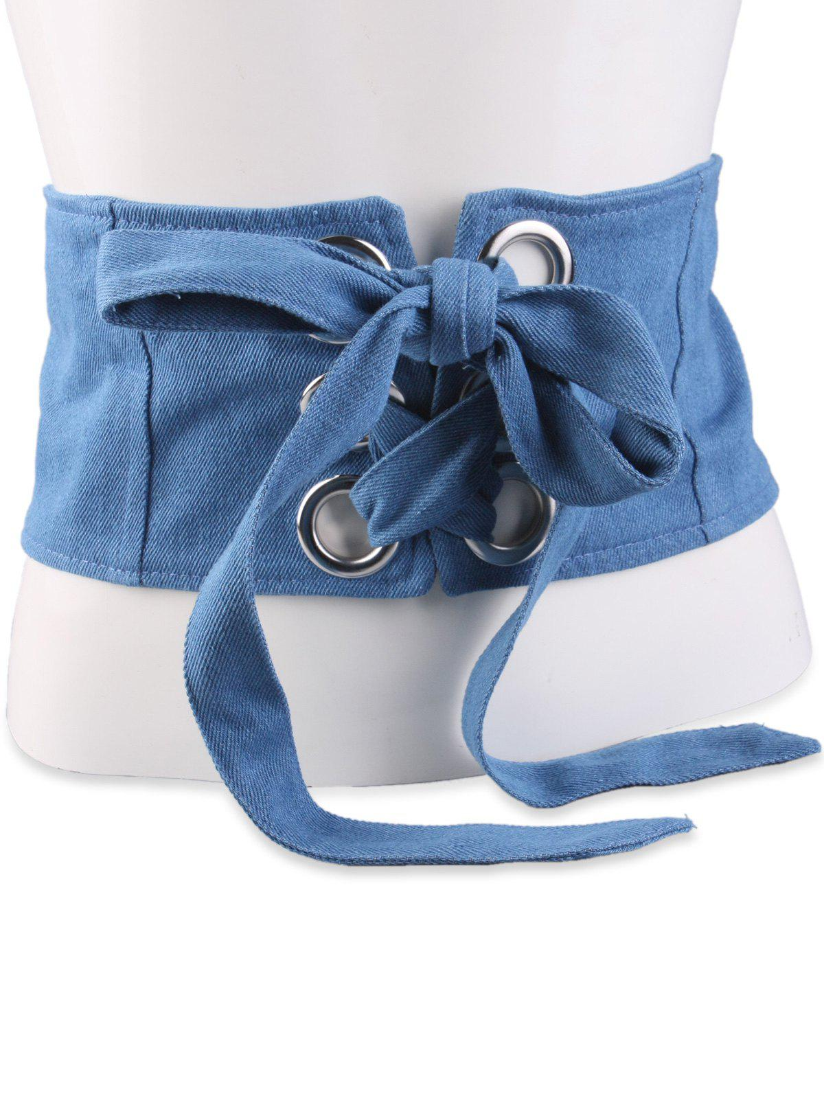Wide Snap Button Aimant Corset Belt - Bleu clair
