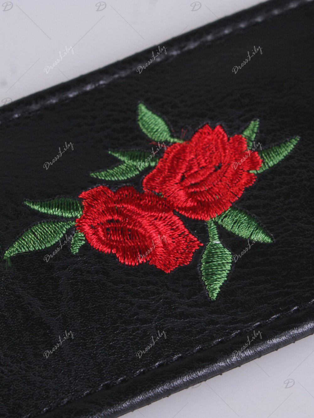 Round Buckle Flower Embroidered Faux Leather Belt - RED