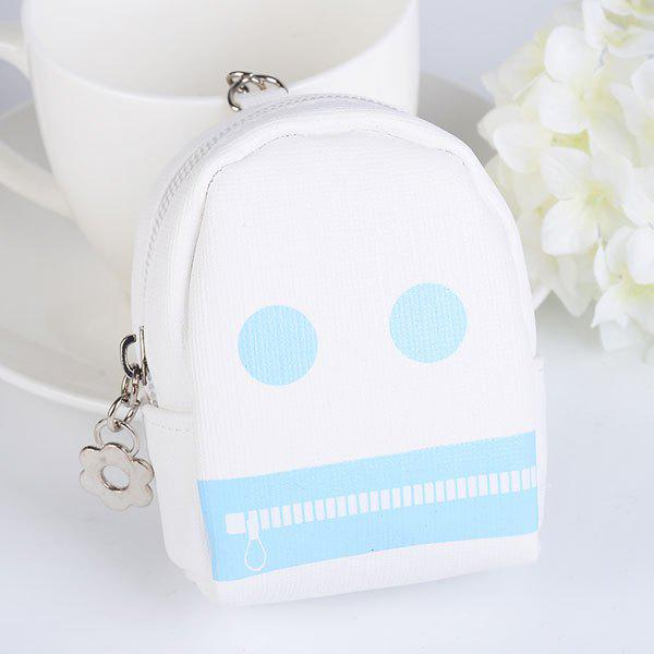 Funny Coin Purse Zipper Key Chain - Blanc