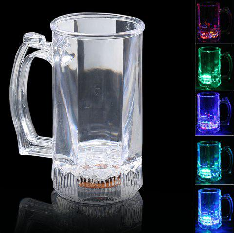 Liquid Inductive Rainbow Color Flash LED Large Beer Cup - TRANSPARENT
