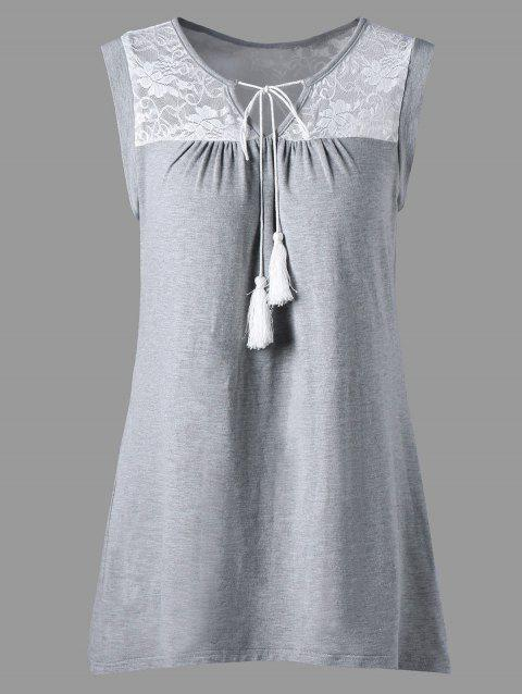 Sheer Lace Yoke Sleeveless Top - GRAY L