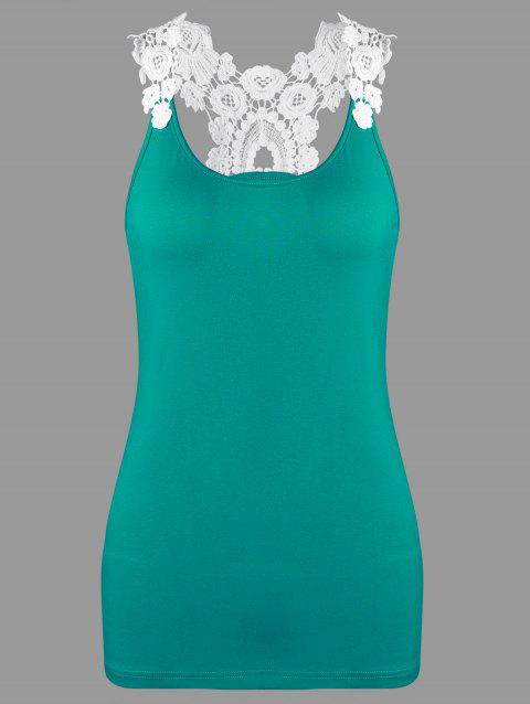Slim Fit Crochet Trim Racerback Tank Top - Lac Vert XL