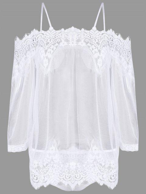 Mesh Lace Sheer Lingerie Tunic Dress with Sleeves - WHITE 2XL
