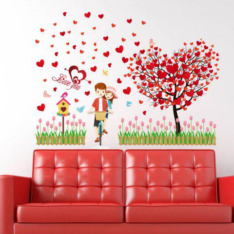 Lovers Heart Tree Removable Vinyl Wall Sticker - RED 60*90CM
