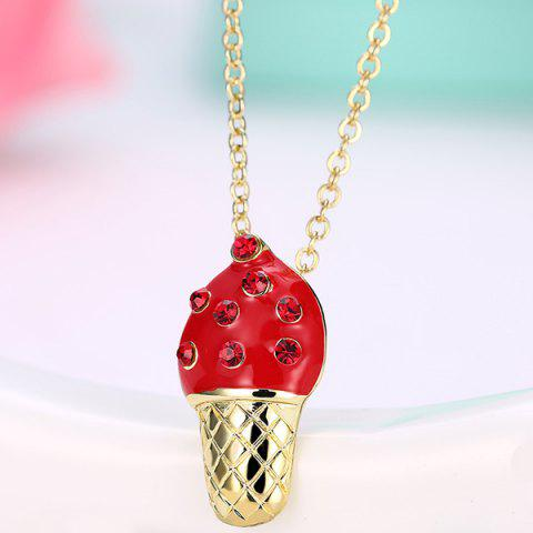 Ice Cream Shape Rhinestone Inlaid Pendant Necklace - RED