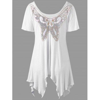Asymmetrical Tulle Butterfly Applique Top