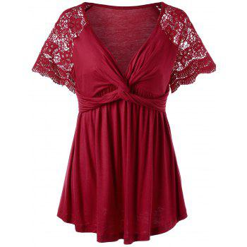 Plus Size Twist Knot Lace Panel Top