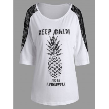 Keep Calm Pineapple Lace Insert Batwing T-Shirt
