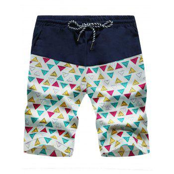 Colorful Drawstring Geometric Print Board Shorts