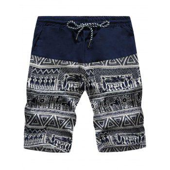 Geometric Tribal Print Drawstring Board Shorts