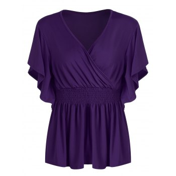 Plus Size Empire Waist Surplice Peplum Top
