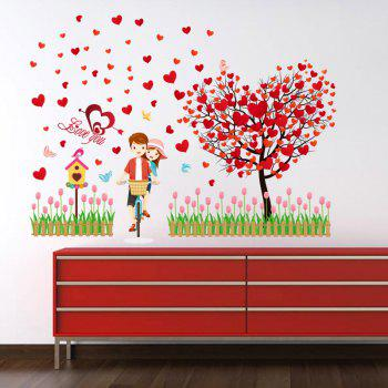 Lovers Heart Tree Autocollant mural en vinyle amovible - Rouge 60*90CM