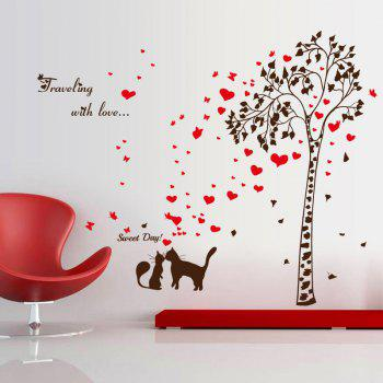 Lover Cat Tree Butterfly Heart Vinyl Wall Sticker