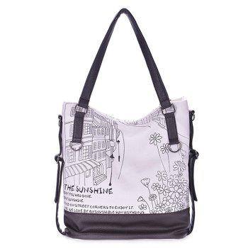 Canvas Insert Print Shoulder Bag