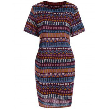 Short Sleeve Print Plus Size Dress