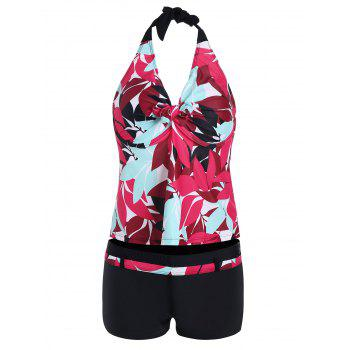 Leaf Print Padded Halter Plus Size Tankini Set