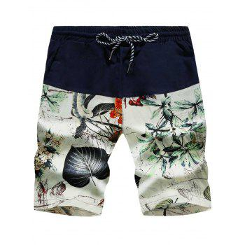 3D Leaves Print Drawstring Panel Board Shorts