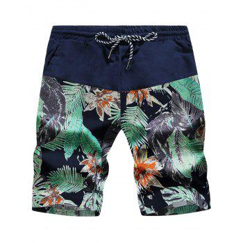 Leaves and Floral Print Drawstring Panel Board Shorts