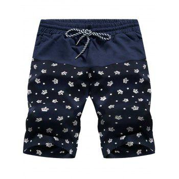 Panel Drawstring Crown Print Board Shorts