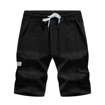 Drawstring Pockets Graphic Appliques Cargo Shorts
