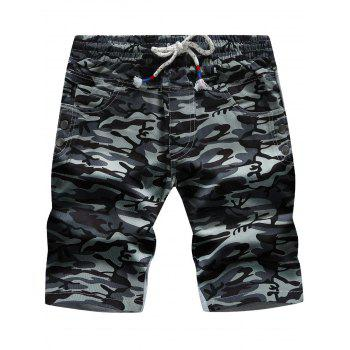 Color Block Panel Pockets Camouflage Drawstring Shorts