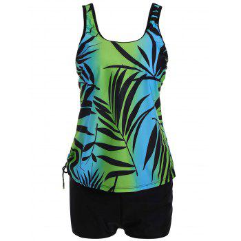 Tropical Leaf Print Padded Plus Size Tankini Set