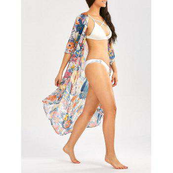 Beach Floral Print Longline Chiffon Cover Up