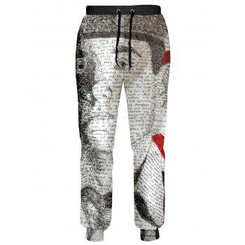 Soldier and Letter Pattern Drawstring Patriotic Jogger Pants