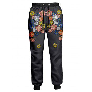 Drawstring Colorful Flowers Printed Jogger Pants