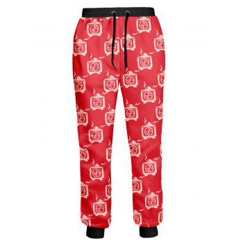 Cartoon Clock Printed Drawstring Joggers