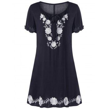 Plus Size Flower Embroidery Tie Front Dress