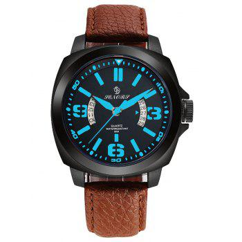 Faux Leather Calendar Double Literal Quartz Watch
