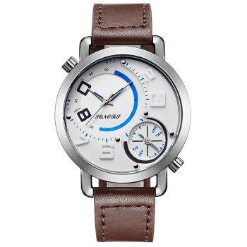 Faux Leather Strap Dual Quartz Watch - WHITE AND BROWN WHITE/BROWN