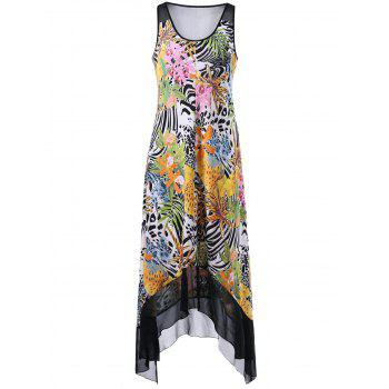 U Neck Sleeveless Floral Hawaiian Dress